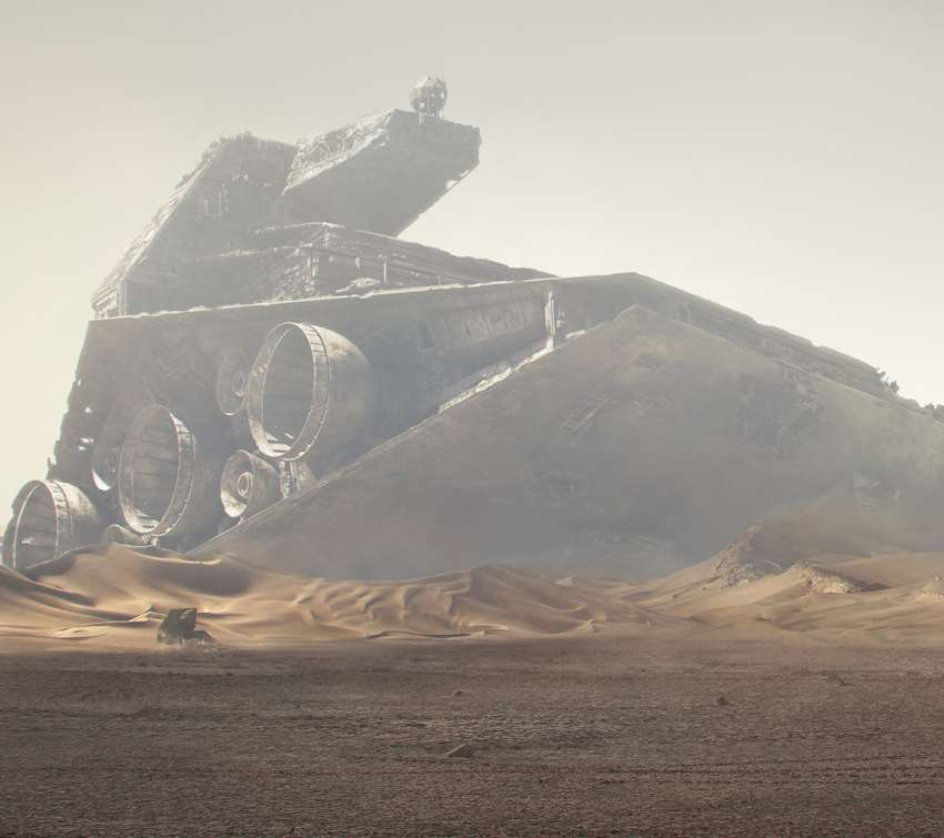 Crashed Star Destroyer - Star Wars fan art Handy Horizontal Hintergrundbild